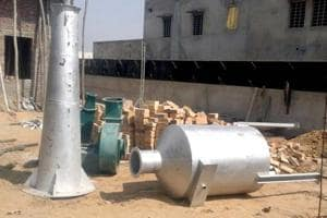 The gas crematory being installed at the Shri Gopal Gaushala in Jhunjhunu.