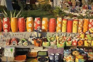 Terracota work at display at a village in Aurangabad.