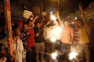 Delhi firecracker traders light crackers to protest against the Supreme Court ban on their sale in Delhi-NCR.