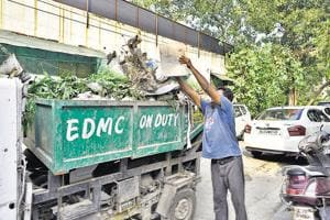Waste segregation in colonies by Municipal Corporation in Preet Vihar, East Delhi, India, on September 20, 2017.