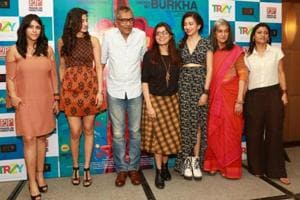 (L-R) Producer Ekta Kapoor, actor Aahana Kumra, filmmaker Prakash Jha, filmmaker Alankrita Shrivastava, actor Plabita Borthakur, Ratna Pathak and Konkona Sen Sharma during a press conference organised to promote Lipstick Under My Burkha in New Delhi on July 10, 2017.