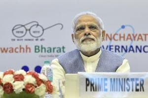 Prime Minister Narendra Modi at the Golden Jubilee Year celebrations of Institute of Company Secretaries of India at Vigyan Bhavan in New Delhi on October 4, 2017.