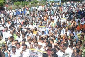 BJP members stage a protest against the Congress government in Bengaluru on Wednesday.