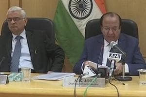 The election Commission press conference in New Delhi on Thursday.