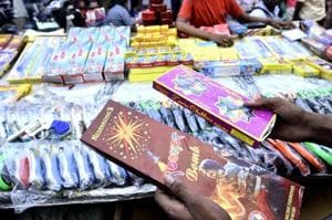 Firecrackers are on sale at Bhagirath Palace market in New Delhi despite a ban by Supreme Court.