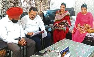 A meeting of Haryana child rights panel and members of the child welfare committee in progress at Indri, Karnal.