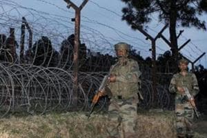 Army jawans patrol LoC in Poonch district of Jammu and Kashmir on Wednesday.