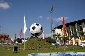 A view of the Indira Gandhi Athletic Stadium in Guwahati, one of the venues for the FIFA U-17 World Cup.