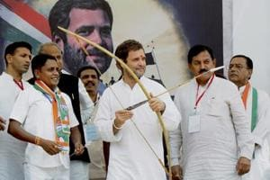 Congress vice president Rahul Gandhi at a public meeting at Devghad Bariya village of Dahod in Gujarat, on October 11, 2017