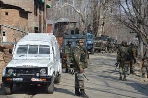 Army soldiers near the site of gunfight in Kulgam in February 2017.