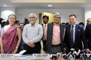 Bibek Debroy, chairman, Economic Advisory Council to the Prime Minister with members Ratan P Watal, Rathin Roy, Surjit Bhalla and Ashima Goyal