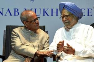 Former president Pranab Mukherjee (left) with former prime minister Manmohan Singh at the release of his book 'The Coalition Years' at a function in New Delhi on Friday.