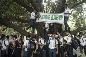 Volunteers protest against the construction of the Metro 3 car shed at Aarey Milk Colony