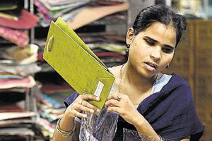 Vandana Gupta at a vocational training centre run by the Blind Relief Association in New Delhi on Thursday.