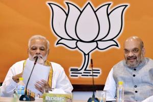 Prime Minister Narendra Modi with BJP President Amit Shah at the party