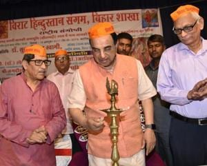 BJP MP Dr Subramanian Swamy at a convention organised by Virat Hindustan Sangam, in Patna on Sunday.