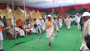 Clad in dhoti-kurta, they played a 10 over-a-side cricket match at the special ground that a non-government organisation readied for the occasion.