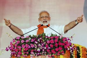 Prime Minister Narendra Modi addresses the Gujarat Gaurav Mahasammelan in Ahmedabad on Monday.
