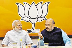 Prime Minister Narendra Modi with the BJP national president Amit Shah at the party