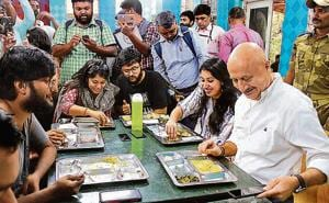 Anupam Kher at FTII, Pune on Monday.
