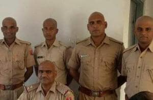 Several policemen in the state have shaved their heads as a protest. (HTPhoto)