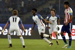Tim Weah of USA (center) celebrates his second goal during the FIFAU-17 World Cup match against Paraguay.