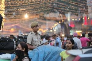 Delhi Police officer on duty during the time of festivities.