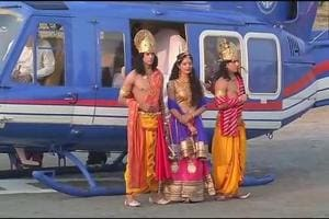 Artistes dressed as Ram,Sita and Lakshman arrive by helicopter for the UP government's Diwali celebrations. (ANI Twitter)