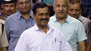 Delhi chief minister Arvind Kejriwal with deputy chief minister Manish Sisodia  and health minister Satyendra Kumar Jain.  AAP is in power in Delhi, the principal opposition in Punjab and polled 6.3 per cent votes in Goa in February.
