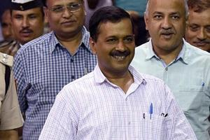 Delhi chief minister and AAP convener Arvind Kejriwal with his colleagues in New Delhi.