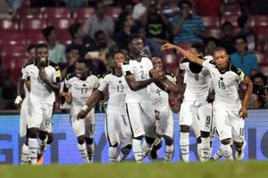 Ghana players celebrate after striking a goal during the FIFA U-17 World Cup match against Niger at DY Patil Stadium in Mumbai.