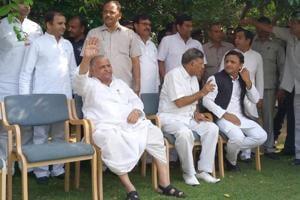 Akhilesh Yadav and Mulayam Singh Yadav along with other leaders in Saifai on Thursday. (Sughar Singh / HTPhoto)