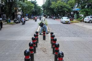 The recently beautified footpath, between Bremen chowk and Parihar chowk, as part of the Aundh Smart City project.