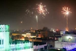 Residents celebrate Diwali in Patiala on Thursday night.