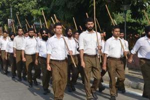 RSS volunteers march on Vijayadashami in Amritsar on September 30.