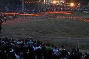 Thousands of people had gathered in the village to watch the spectacle of 'Hingot missiles' dazzling the night sky.