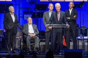 For the first time, five former US presidents appear together at...