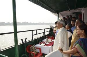 Chief minister Nitish Kumar inspecting the Ganga ghats ahead of Chhath, in Patna on Sunday.