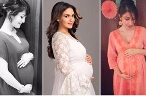 While they were expecting, actors Nisha Rawal, Esha Deol and Soha Ali Khan (L-R) embraced a rule that works for many pregnant women: wear what you're comfortable in and accessorise.
