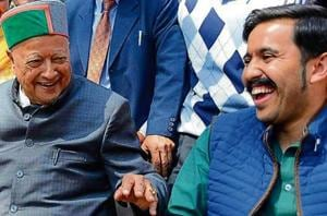 Youth Congress chief Vikramaditya Singh with his father Virbhadra Singh.