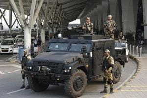 Photos: At Delhi airport, an armoured vehicle to withstand terror...