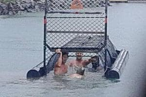 'Idiots of the century': Group of men swim in trap baited to confine...