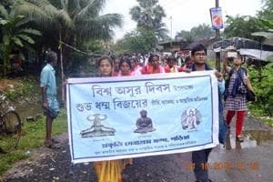 A rally taken out at Garia in the southern fringes of Kolkata on October 1, a day after Bijoya Dasami. It was organised to celebrate Biswa Asur Divas (World Asura Day).