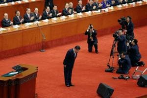 Chinese President Xi Jinping bows before delivering his speech during the 19th National Congress of the Communist Party of China in Beijing, October 18.  Democratic countries are refreshed and renewed by free elections. The Chinese system of state capitalism, supervised by an entrenched political elite, poses an alternate model.