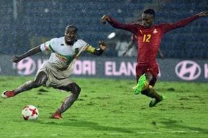 The Ghana-Mali FIFA U-17 World Cup match in Guwahati was played in heavy rain and on a soggy pitch.