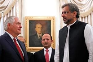 US secretary of state Rex Tillerson (left) is greeted by Pakistani Prime Minister Shahid Khaqan Abbasi (right) in Islamabad on October 24, 2017.
