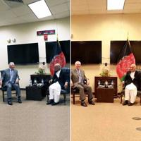 "Two photographs of the ""secret meeting"" between US secretary of state Rex Tillerson and Afghan president Ashraf Ghani have left everyone scratching their heads."