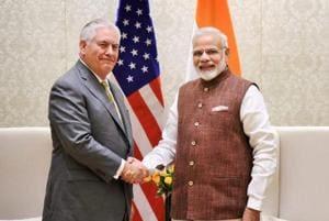US secretary of state Rex Tillerson meets Prime Minister Narendra Modi in New Delhi on Wednesday.