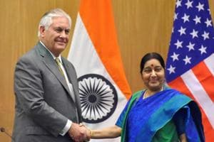 Minister for external affairs Sushma Swaraj and US Secretary of State Rex Tillerson shake hands after their joint press conference in New Delhi on Wednesday.