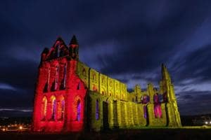 Photos: Dracula's birthplace, Whitby Abbey aglow to celebrate...